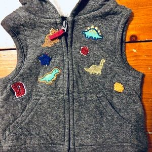 Jackets & Coats - Baby boy hooded vest w dinosaur patches 12mo